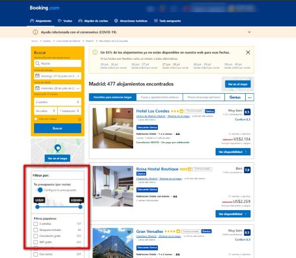 filtrar en booking